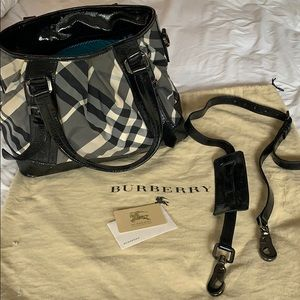 Burberry Large Bag black patent and check